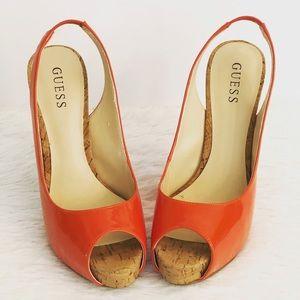 Guess Aero Peep-Toe Slingback Cork Heel Shoes